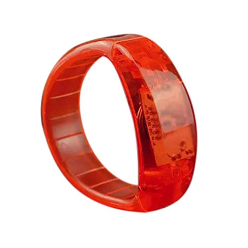 Voberry LED Flashing Bracelet Voice Activated Sound Control Wristband Bangle for Weddings,Birthdays,Holidays,Concert Party Favors Kids Toys (Orange)