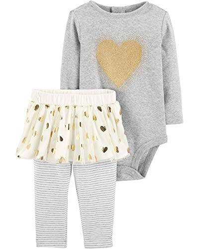 Carter's Baby Girls' 2-Piece Bodysuit and Tutu Pant Set (Heather/Gold Hearts, 3 Months) ()