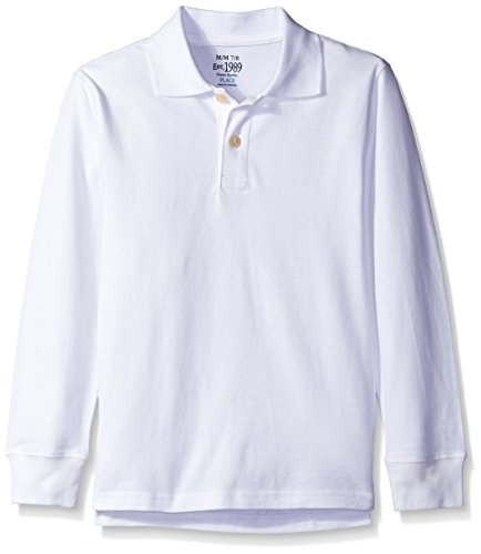 The Children's Place Big Boys Long Sleeve Uniform Polo Shirt, White, Medium/7/8