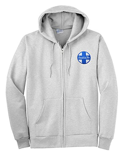 Sweatshirt Zippered Ash - AT&SF Santa Fe Blue Cross Zippered Hoodie Sweatshirt Ash Adult 2XL [16]