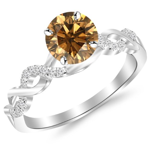 0.88 Carat 14K White Gold Twisting Infinity Gold and Diamond Split Shank Pave Set Diamond Engagement Ring with a 0.75 Carat Natural Untreated Brown/Champagne Diamond Center (Heirloom Quality)