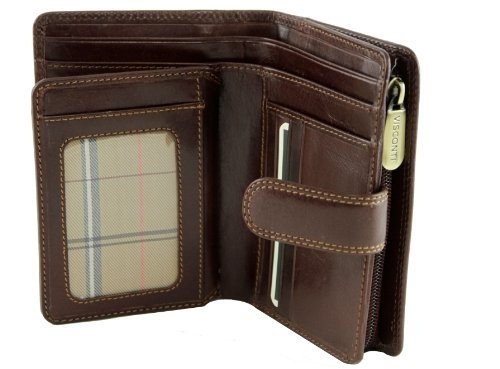 Visconti Monza -11 Ladies Large Italian Brown Soft Leather Purse/Wallet (Brown), Bags Central