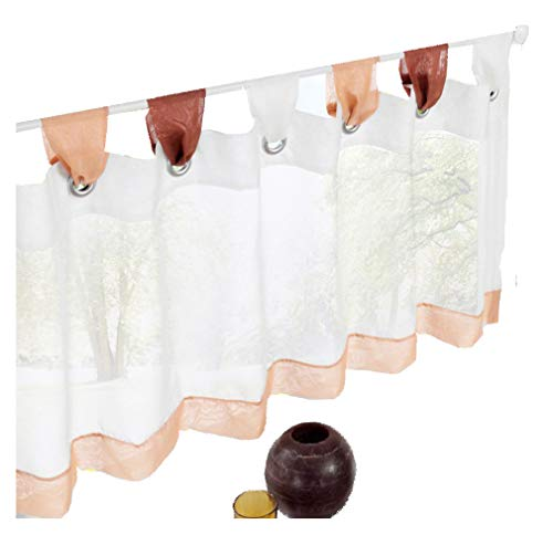HomeyHo Tier Curtain for Kitchen Window Half Curtains Kitchen Wondow Tier Curtain Sheer Curtain Tab Top Kitchen Tier Curtains for Windows Valance Multi Color Short Curtain Kitchen, 18 x 36 Inch,Brown (Multicolor Valance)