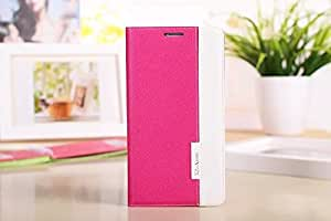 CASEPRADISE Slim Wallet Card Pouch Flip Leather Etui Stand Case Cover For Samsung Galaxy Note 4 Hotpink