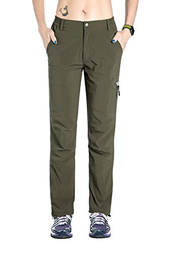 Nonwe Womens Outdoor Windproof Light Weight Breathable Quick Dry Pants Green M/30 Inseam