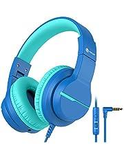 iClever HS19 kinderkoptelefoon via oor, HD stereo hoofdtelefoon met microfoon, volumeregelaar 85/94dB, Sharing-functie, opvouwbare hoofdtelefoon voor school, reizen