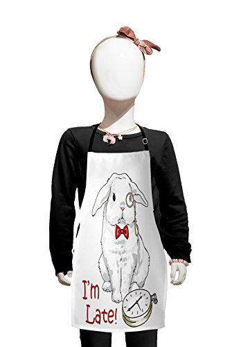 Lunarable Alice in Wonderland Kids Apron, Funny Rabbit with Watches in Cartoon Style Design Character Fantasy, Boys Girls Apron Bib with Adjustable Ties for Cooking Baking and Painting, White Red]()