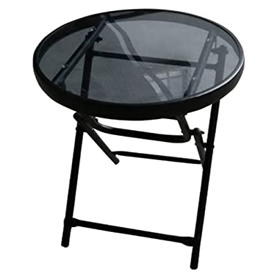 "Westfield Outdoor 199493 RG0018-S1841 FS Flood Side Table, 18"" - Round, Folding Side Table, 5 mm Smoked Glass Black Powder Coated Steel Frame - patio-tables, patio-furniture, patio - 41NK04255CL. SS400  -"