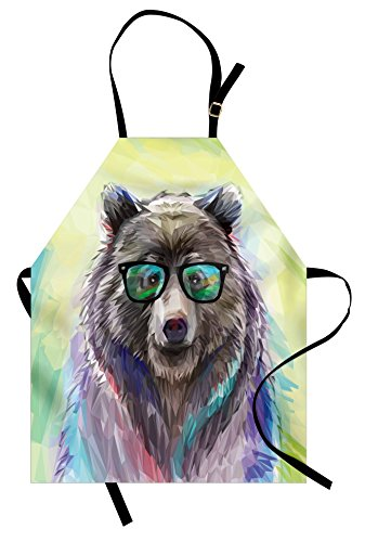 Gardening Bear - Ambesonne Animal Apron, Funny Cool Low Wild Hipster Bear with Spectacles Colorful Portrait, Unisex Kitchen Bib Apron with Adjustable Neck for Cooking Baking Gardening, Lime Green Blue Gray Purple