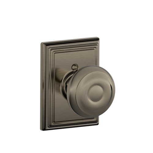 (Georgian Knob with Addison Trim Non-Turning Lock, Antique Pewter (F170 GEO 620)