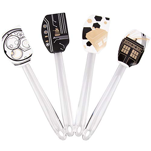 Doctor Who Silicone Spatula 4-Piece Bundle - Pinache Black and White Tardis and Gallifrey Designs - Perfect for Dr. Who Fans - 11 inches