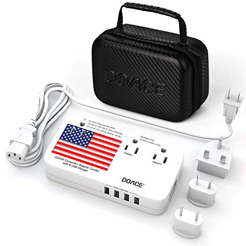 DOACE X9 2200W Travel Voltage Converter with Portable Bag for Hair Dryer Steam Iron, 220V to 110V Transformer with Dual Adapters, 4-Port USB, UK/AU/EU Plug Wall Charger for Cell Phone Camera Laptop (Transformer Voltage Uk)