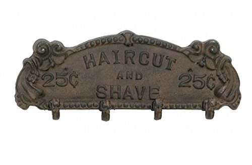 Upper Deck Antique Style Iron Barber Haircut and Shave Coat Rack Brown