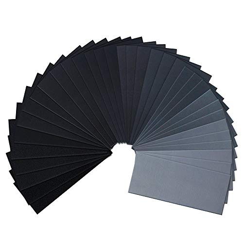60 To 2000 Assorted Grit Sandpaper 36 Sheets and 90 Sheets Two Package Sizes for Wood Furniture Finishing, Metal Sanding and Automotive Polishing, Dry or Wet Sanding, 119 in