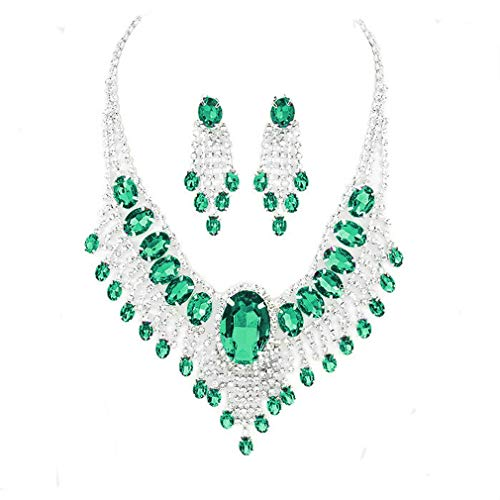 - Affordable Wedding Jewelry Emerald Green Clear Rhinestone Cascade Earrings Silver Necklace Set