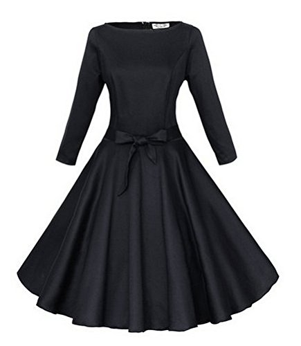 Babyonline® Damen Rundkragen 3/4 Ärmel Retro Cocktailkleid Swing 1950er Jahre Faltenrock Vintage Partykleid Knielang