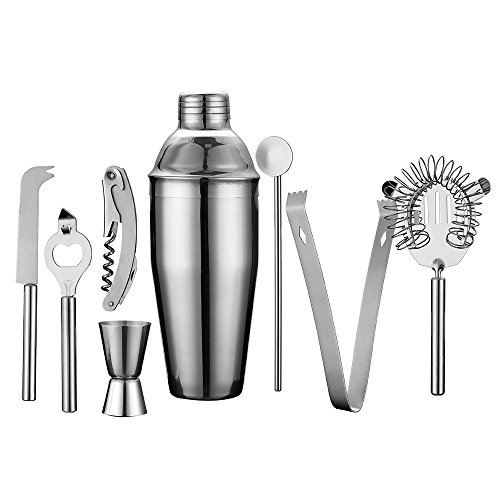 Stainless Boston Spoon Steel (QLL 18/8 Grade Stainless Steel Cocktail Martini Shaker Home Bar Set Includes 25 Oz Cocktail Shaker, Mixing Spoon, Jigger, Strainer, Ice Tongs, Waiters Corkscrew, Wine Opener, Cheese knife)