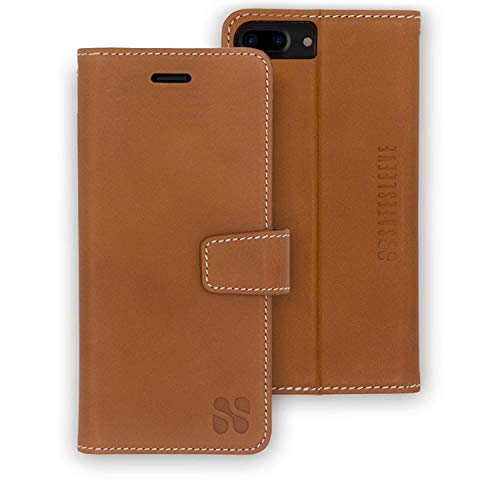 Anti Radiation RFID iPhone Case: iPhone 8 Plus, iPhone 7 Plus and iPhone 6 Plus ELF & RF Blocking Identity Theft Protection Wallet (Leather)