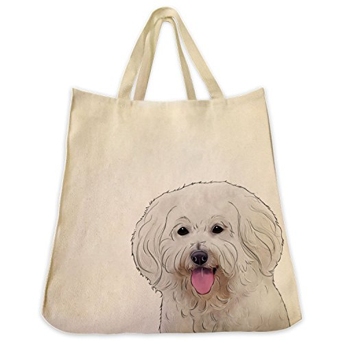 Bichon Frise Tapestry (Bichon Frise Dog Extra Large Eco Friendly Reusable Cotton Twill Grocery Shopping Handbag And Tote)