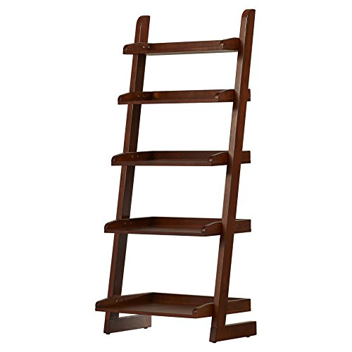 Leaning 55'' Bookcase Inspired Ladder Design Leaning Against Wall Tray-Design Shelving Ample Space Plus FREE GIFT
