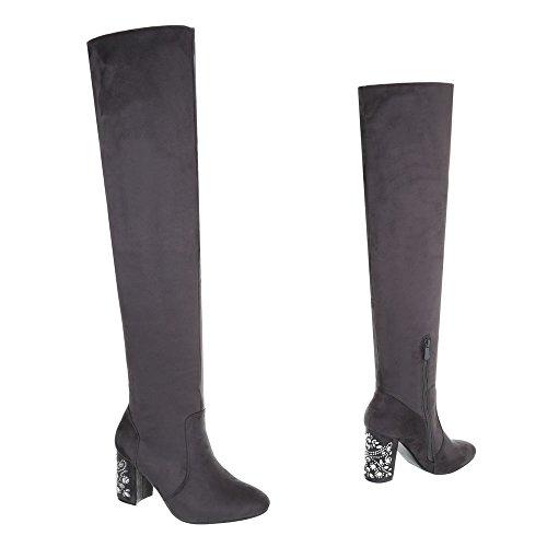 Overknee Heels Stiefel High Damen Schuhe Grau 0x5qwOg