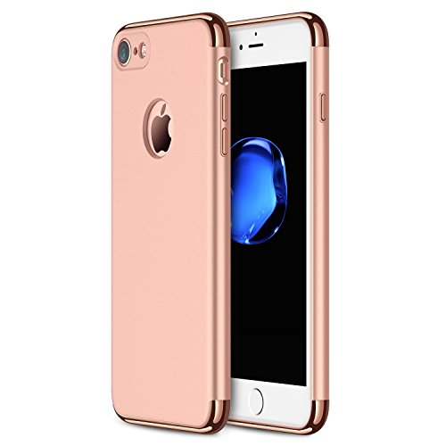 Price comparison product image iPhone 6s Plus Case,iPhone6 Plus Ultra-Thin Hard Shockproof 3 in 1 Hard Shell Cover Case with 3 Detachable Parts PC Case (iPhone 6s Plus/iPhone 6 Plus, Rose Gold)