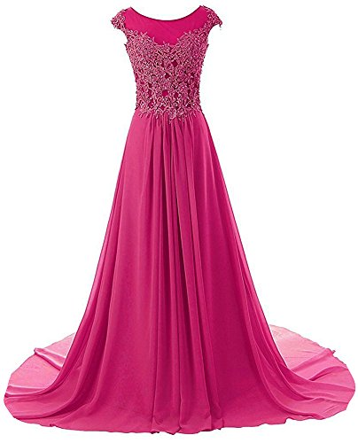 Prom Dresses Long Evening Gowns Lace Bridesmaid Dress Chiffon Prom Dress Cap Sleeve Hot Pink US2