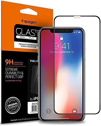 浸した厄介な読みやすい【Spigen】 iPhone XS ガラスフィルム/iPhone X ガラスフィルム 5.8インチ 用 全面保護フィルム 液晶強化ガラス 【フルカバー】 9H硬度 發油加工 3DTouch Face ID 対応 063GL25234 (FC HD Black (1枚入))