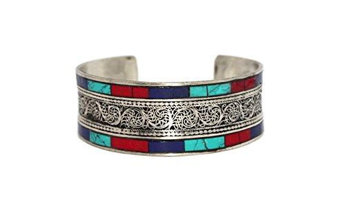 Turquoise cuff bracelet based on tibetan bracelet, Nepal bracelet Lapis bracelet