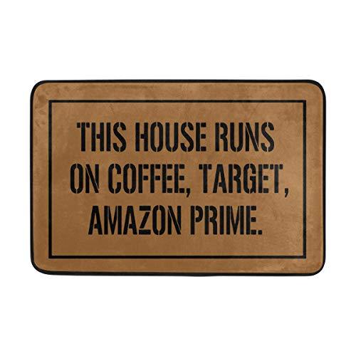 Merle kum Non-Slip Doormat This House Runs No Coffee, Target Entrance Floor Mat Funny Doormat Home and Office Decorative Indoor/Outdoor/Kitchen Mat Non-Woven Fabric 23.6