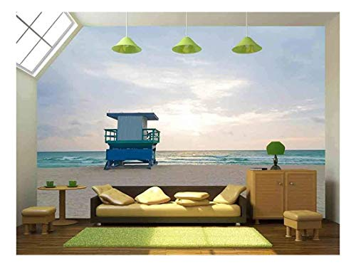 (wall26 - Empty Beach with Lifeguard Cabin at Sunrise A Lonely Cabin on The Empty Beach - Removable Wall Mural | Self-Adhesive Large Wallpaper - 100x144 inches)
