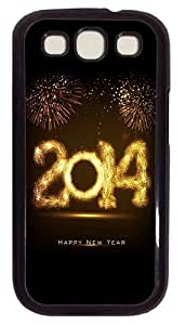 2014 Happy New Year Fireworks PC Case Cover For Samsung Galaxy S3 SIII I9300 Black