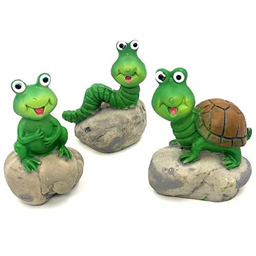 Trasfit 3 Pieces Fairy Garden Accessories Cute Animals on Rock, Miniature Turtle, Frog, Caterpillar for Micro Landscape…