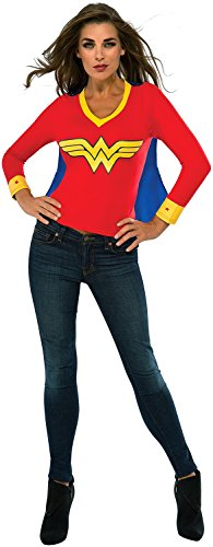 Wonder Woman Costumes T-shirt With Cape (Rubie's Costume Co Women's DC Superheroes Wonder Woman Sporty Tee, Multi, Small)