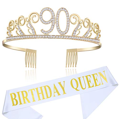 90th Birthday Sash - BABEYOND 90th Birthday Tiara and Sash