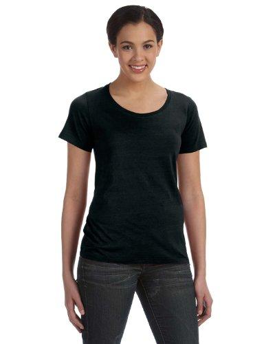 Anvil Women's Fitted Scoop Neck Bottom Hem Sheer T-Shirt, Black, M