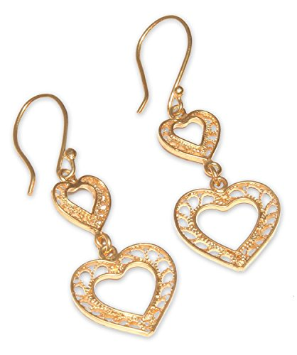 (NOVICA 21k Yellow Gold Plated .925 Sterling Silver Dangle Earrings 'Our Two Hearts')