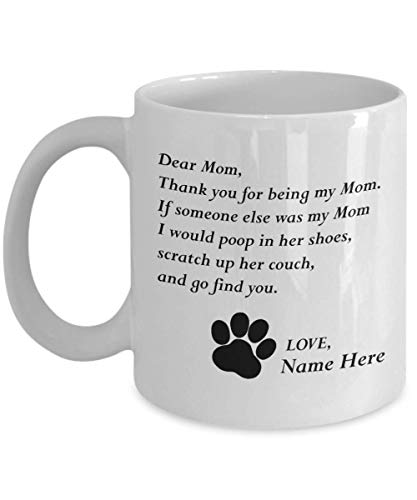 MyFaveGift Customizable Personalized Cat Mom & Dad Custom Pet Name Coffee Mug Perfect Gift Idea For Birthday Graduation Christmas Father's Day Mother's Day Gifts From Fur Child Cat Lover Gifts 11oz