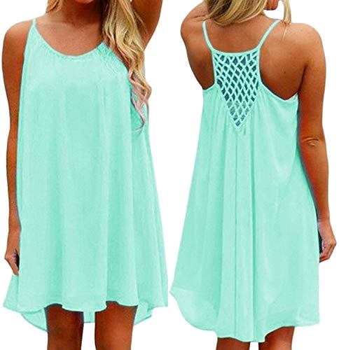 iToolai Women's Summer Casual Sundresses Chiffon Tank Beach Shift Dress(Mint,S)