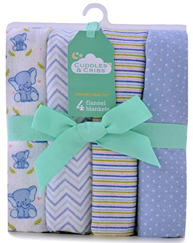 Cuddles & Cribs 100% Cotton Flannel Warm Receiving Blankets/Burp Cloth for Baby Girl or Baby Boy - One Size, Elephant