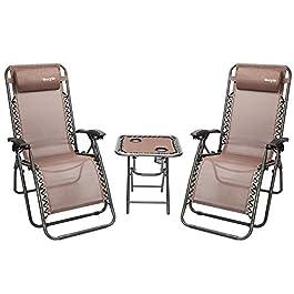 Bonnlo 3 PCS Zero Gravity Chair Patio Chaise Loung...