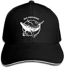 2748c5d0c1b Sea Shepherd Whale Adjustable Sandwich Cap Baseball Cap Casquette Hat Black