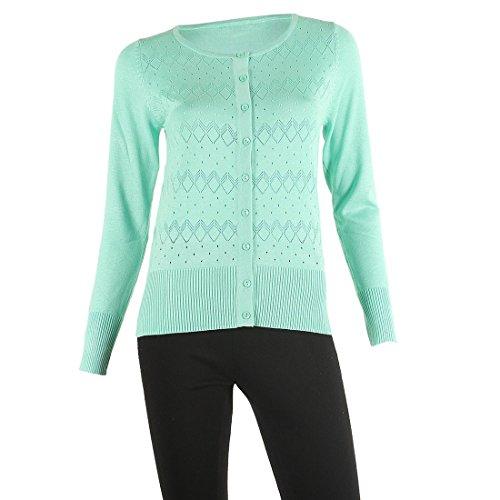 Cropped Jacket & Silk Skirt (SIONI Women's 'Fine Gauge ' Knit Long Sleeve Sweater Cardigan,Mint Leaf,XL)