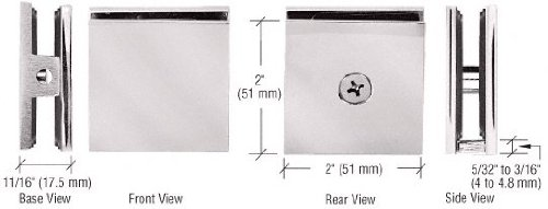 C.R. LAURENCE SCU4SN CRL Satin Nickel Square Style Hole-in-Glass Fixed Panel (Shower Glass Clamps)