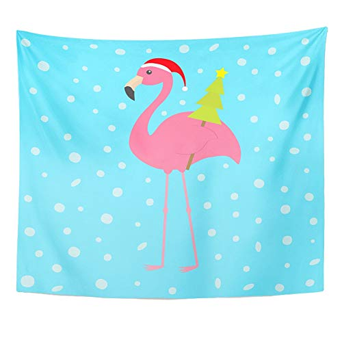 (Emvency Tapestry Wall Hanging Pink Flamingo Wing Holding Christmas Fir Tree Santa Claus Hat Exotic 60
