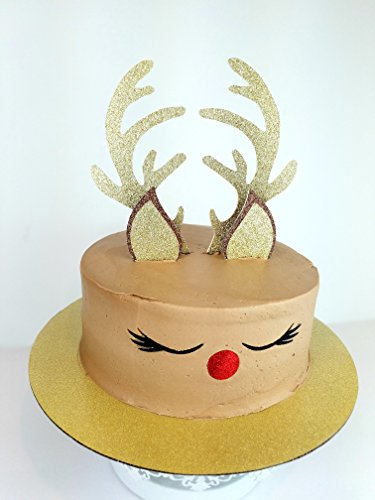 Handmade Reindeer Christmas Cake Topper Decoration- Rudolf red - Made in USA with Double Sided Glitter Stock - Cake Not Included (Decorations Reindeer Glitter)