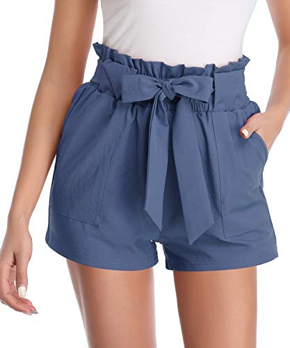Aprance Paper Bag Shorts for Women High Waisted Tie Casual Summer Shorts with Pockets DK_BLG_2XL