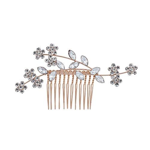 Lux Accessories Rose Goldtone Crystal Rhinestone Bridal Floral Flower Vine Hair Comb ()