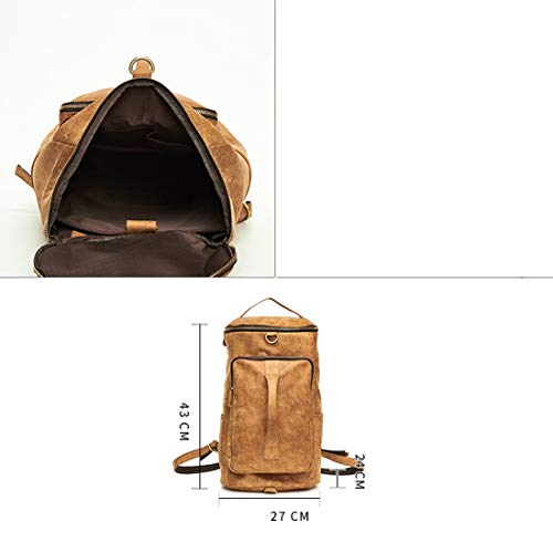 Brown Vintage Hiking Leather Sports Brown For Men Rucksack School Satchel Travel Daypack color Handbag Backpack qpaAwq
