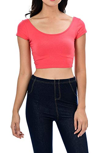 Womens Trendy Solid Color Basic Scooped Neck and Back Crop Top Dk Coral Medium